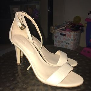 Aldo size 8.5 nude strappy stiletto ankle heel